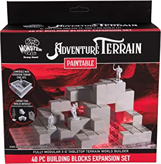 Monster Adventure Terrain - 40pc Unpainted Building Block Expansion Set - Fully Modular and Stackable 3-D Tabletop World B...
