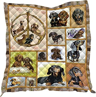 3D Printed King Quilt Queen Quilts Kids Size Quilted Placemats Quilted Throw Blanket Outdoor Picnic Camping Mat Beach Camp Sleeping Mattress (Queen,Cartoon Dachshund)