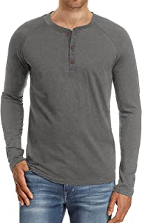 Halfword Mens Henley Long Sleeve T-Shirts Crew Neck Casual Shirts Button Tops