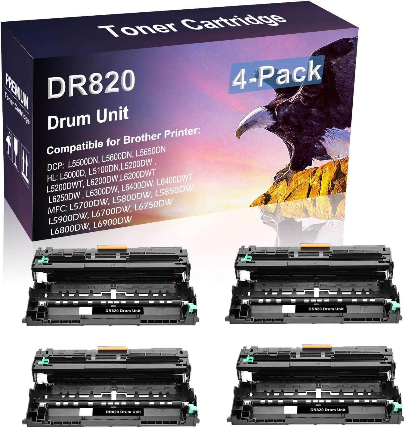 4 Pack Compatible High Yield DR820 DR-820 Drum Unit use for Brother MFC-L5700DW MFC-L5800DW Printer