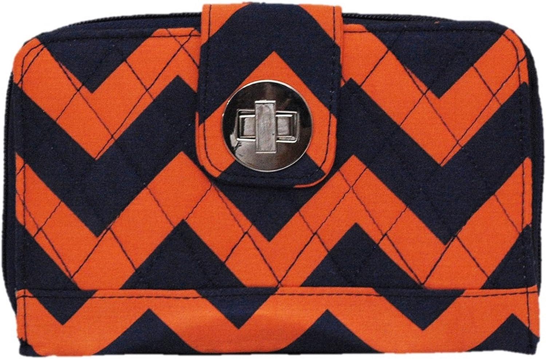 Quilted Navy & orange Chevron Print Twist Lock Wallet