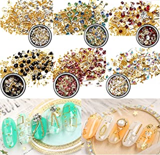 Nail Micro Caviar Beads 6 Boxes Mixed 3D Nails Supply Gems Studs Gold Nail Art Decorations Charms Metal Jewels Star Moon Heart Triangle Square Rivet Gems for Fingernails & Toenails Decor Manicure Tips