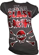 Amplified Vintage Woman T-Shirt Gray Charcoal Official The Clash Skull Diamante