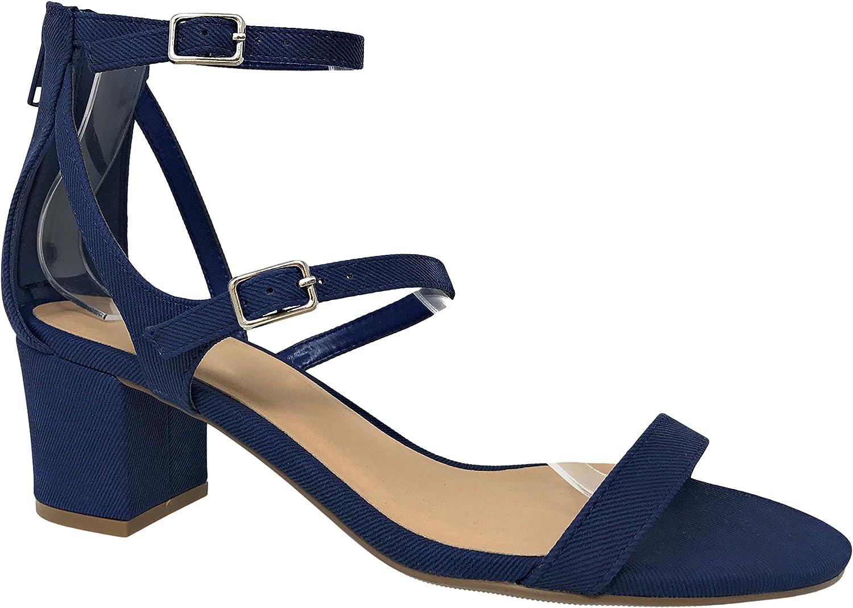 City Classified Women's Open Toe Ankle Strap Chunky Block Heel MVE shoes