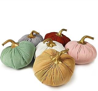 Ogrmar Set of 6 Pack Handmade Corduroy Fabric Pumpkins Decor,Super Soft Stuffed Pumpkin with Exquisite Craftsmanship for F...