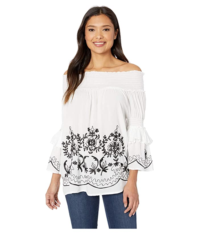 Scully  Ireland Flirty Off the Shoulder Blouse (White) Womens Blouse