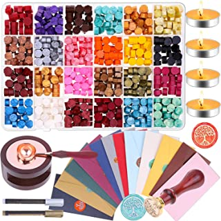 Sealing Wax, Anezus 645pcs Wax Letter Seal Kit with Wax Seal Beads, Sealing Wax Warmer, Vintage Envelopes, Wax Stamp and M...