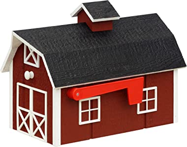 Amish Dutch Barn Painted Wooden Mailbox with Cupola (Red with White Trim)