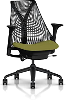 Herman Miller Sayl Ergonomic Office Chair with Tilt Limiter and Carpet Casters | Stationary Seat Depth and Arms | Black Frame with Artichoke Crepe Seat