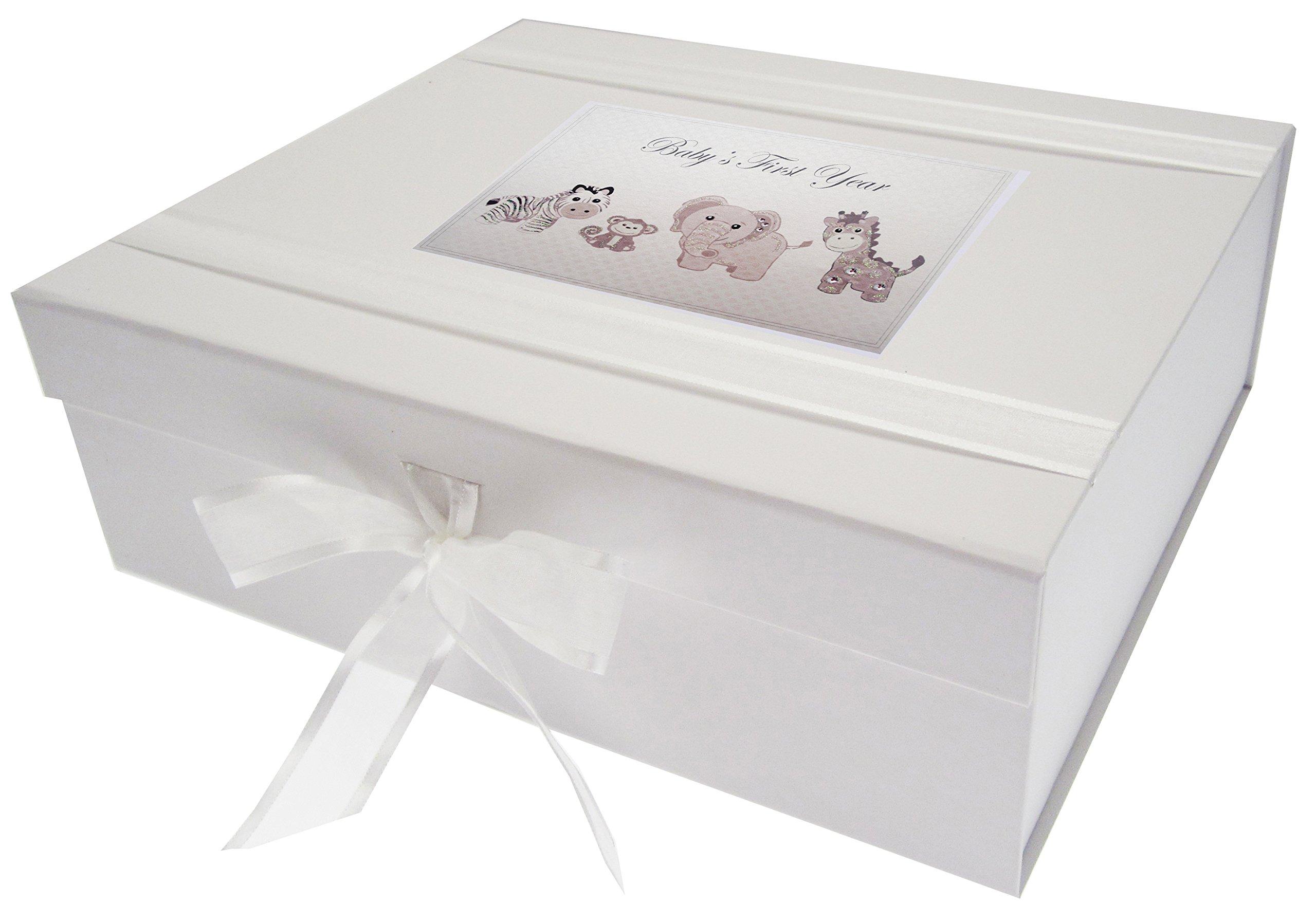 White Cotton Cards – Caja de Recuerdo de Primer año del bebé, Grande, Plata Juguetes, Animales, Junta, Color Blanco, 27,2 x 32 x 11 cm: Amazon.es: Hogar