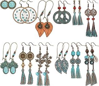 LOLIAS 12 Pairs Bohemian Vintage Drop Dangle Earrings for Women National Style Hollow Statement Earrings Retro Metal Drop ...