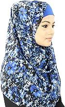 MyBatua azul de la impresión floral Georgette Hiyab, musulmán Bufanda, Vestimenta de lujo, Amira Al-HJ-056