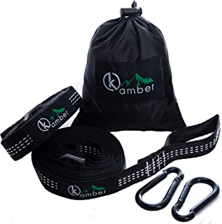 Kamber Hammock Straps – Two Extra Long 10ft Hammock Straps with Precision Adjusting Buckles and Heavy-Duty Carbon Steel Carabiners, Triple Stitched Non-Stretch Polyester Straps, Holds 1500Lbs