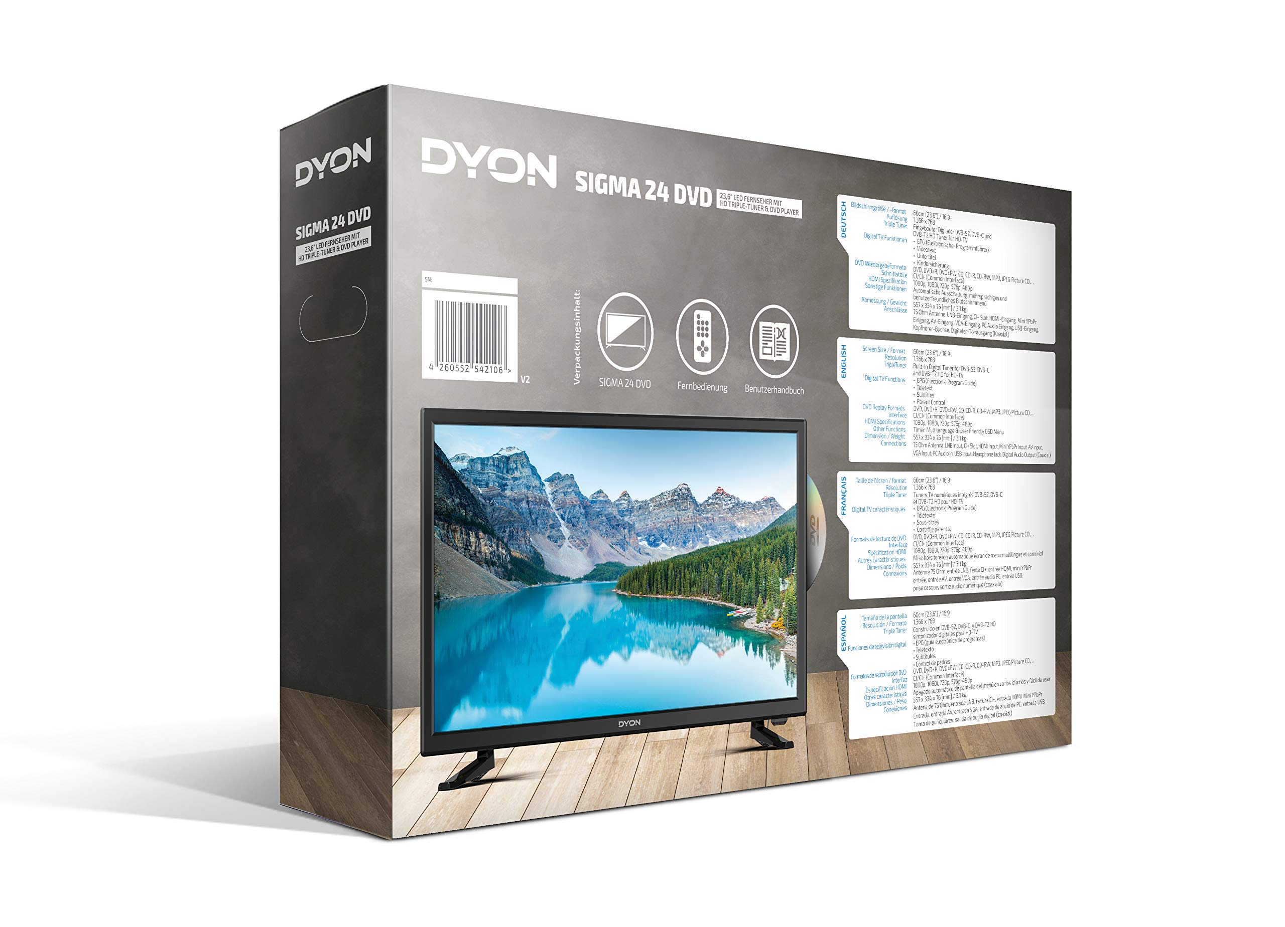 DYON Sigma 24 DVD LED-TV 60cm 23.6 Zoll EEK A+ (A++: Amazon.es: Electrónica