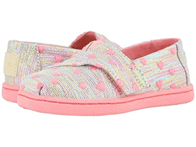 TOMS Kids Alpargata (Toddler/Little Kid) (Pink Multi Heartsy Twill Glimmer) Girl