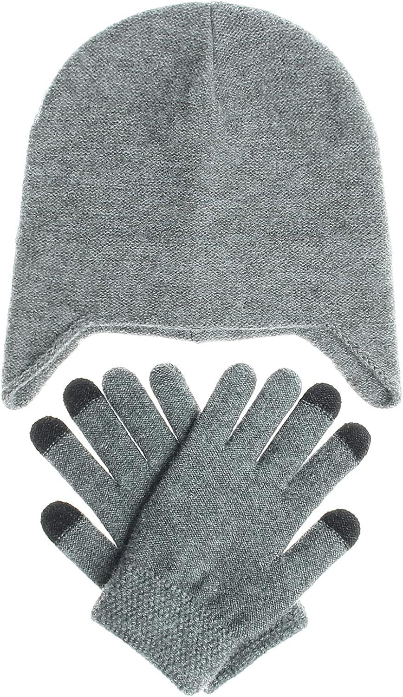 Muryobao Women Winter Hat and Gloves Set Knit Beanie Warm Skull Ski Cap Touch Screen Mittens