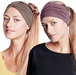 BLOM Original Headband Two Pack. Women's Headbands Perfect for Yoga Fashion Workout Sports Gym Athletic Exercise. Wide Sweat Wicking & Stretchy.
