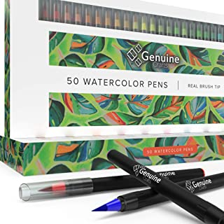 Watercolor Brush Pens by Genuine Crafts - Set of Premium Colors - Real Brush Tips - No Mess Storage Case - Washable Nontoxic Markers - Portable Painting (Set of 50)