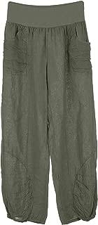 TEXTURE Ladies Womens Italian Lagenlook Plain Rushed Pleat Ankle Wide Leg Harem Linen Pants Trousers One Size