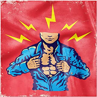 Lunarable Super Hero Decorative Napkins Set of 4, Courage Brave Classic Flying Man Killing The Bad Guys Poster Image, Silky Satin Fabric for Brunch Dinner Buffet Party, 18