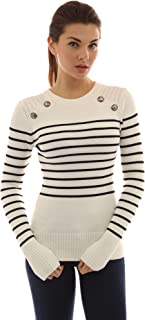 Women Crewneck Striped Military Sweater