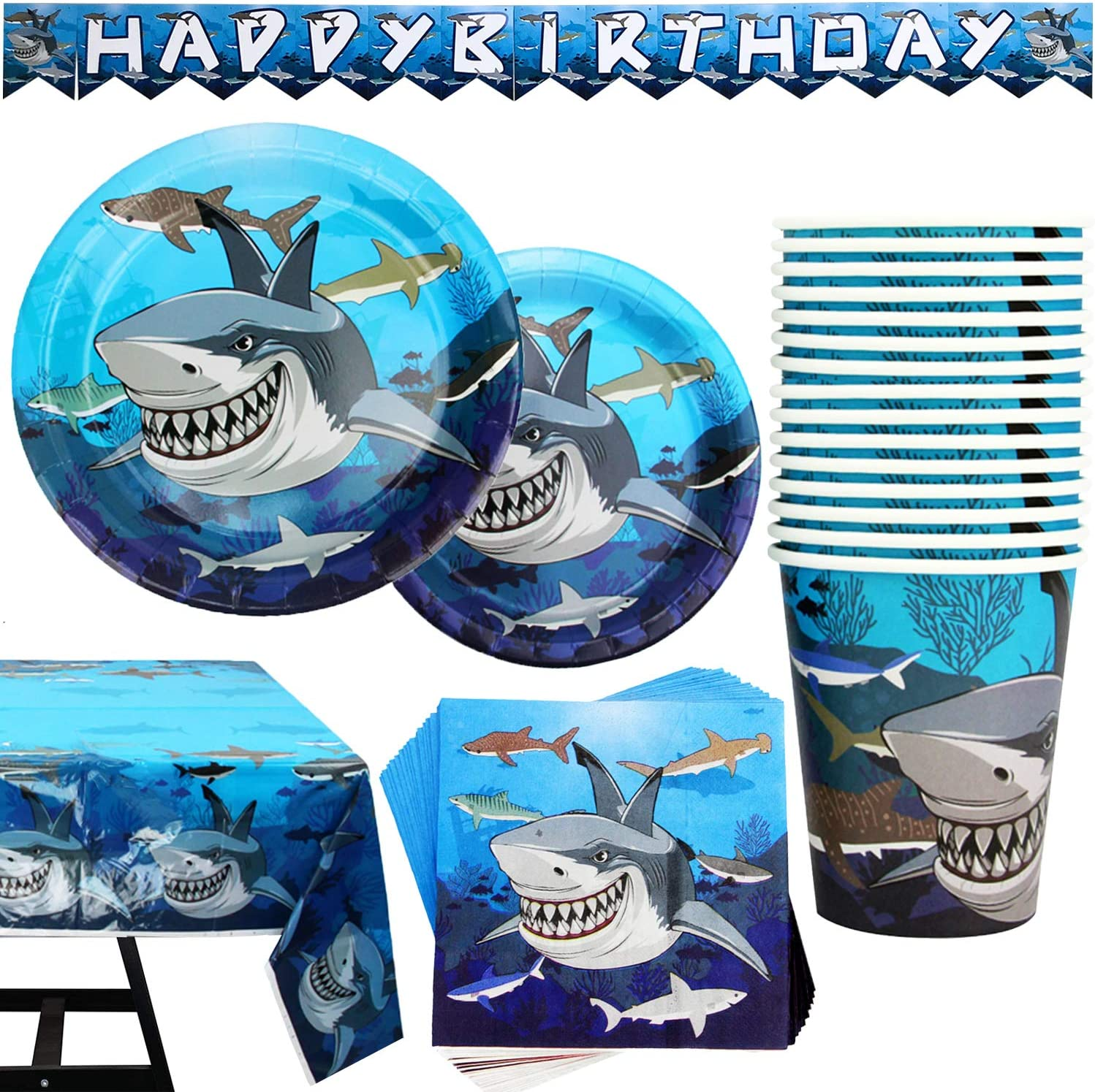 102 Piece Shark Party Supplies Including Plates Cup Columbus Mall Set Max 74% OFF Banner