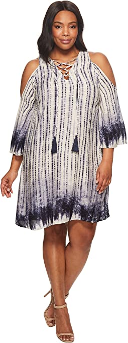 KARI LYN - Plus Size Caroline Cold Shoulder Tie-Dye Dress