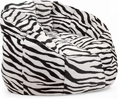 Urban Shop Adult Faux Fur Bean Bag Chair, Zebra