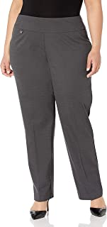 SLIM-SATION womens Plus-Size Pull On Solid Knit Flare Leg Pant with Tummy Panel Pants
