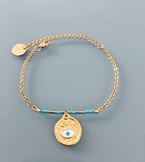 Bracciale occhio greco, bracciale donna greco placcato oro 24 k, Bracciale dorato, idea regalo, bracciale oro, gioielli re...