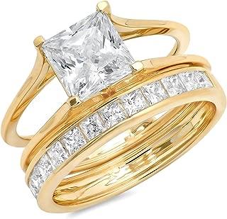 3.40CT Princess Cut Simulated Diamond CZ Pave Halo Bridal Engagement Wedding Ring Band Set 14k Yellow Gold