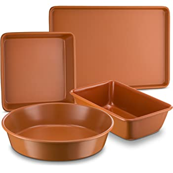 "Ceramic Coated Copper Bakeware 4 Piece Set – 9"" Round, 9""x13"" Rectangle, 9"" Square And Loaf Pan - Nonstick, Dishwasher Safe, PTFE/PFOA Free - Red Bakeware by Bovado USA"