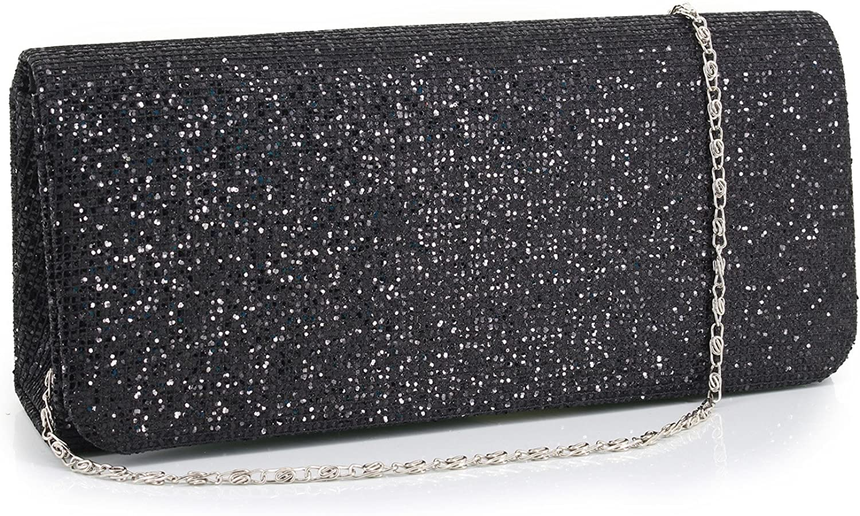 Gabrine Womens Evening Shoulder Bag Handbag Clutch Purse Glitter Shiny Sequins for Wedding Prom Party