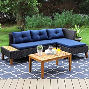 Sophia & William Outdoor Patio Sectional Furniture Set All-Weather Wicker Rattan Outdoor Sofa Set with Acacia Wood Rectangle Table & Built-in Side Table(3 Piece, Blue)