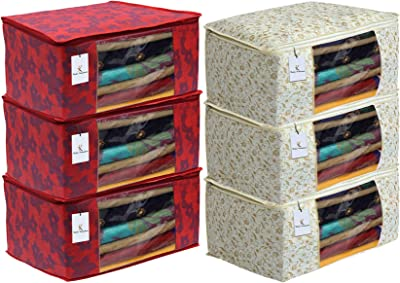 Kuber Industries Metalic Printed 6 Piece Non Woven Fabric Saree Cover Set with Transparent Window, Extra Large, Brown & Red -CTKTC40870