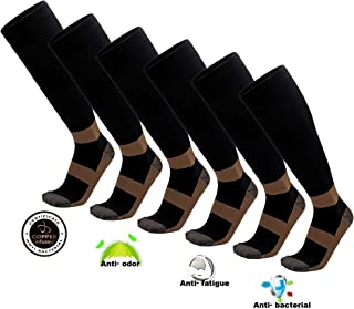 6PK Copper Compression Socks For Men Women Knee High Stocking Support Relief Recovery Plantar Fasciitis, Varicose Veins, Calf Pain - Running, Nursing, Travelling, Pregnancy & More- L/XL