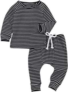 Sponsored Ad - Imcute Baby Fall Outfits Inflant Long Sleeve Stripe Cotton Crewneck Sweatshirts and Pants Clothes
