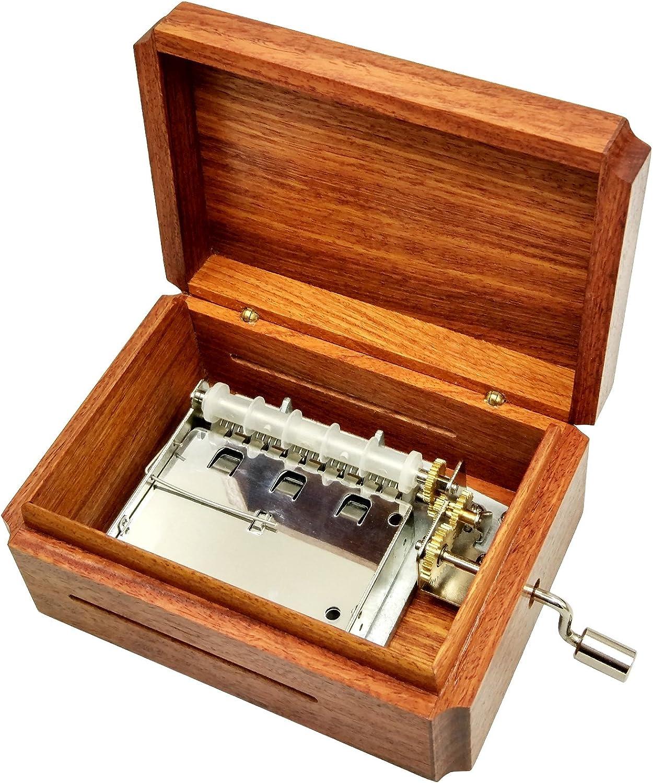 Wingostore 30 Notes Hand Crank Music Box Movement with Copper Gear DIY Make Your Music Tool Kit (with Burma padauk Box2)