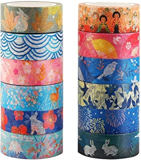 Kyoto Series Masking Washi Tape Collection for Arts and DIY Crafts, Scrapbooking, Bullet..