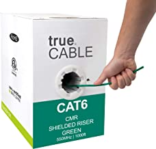 trueCABLE Cat6 Shielded Riser (CMR), 1000ft, Green, 23AWG Solid Bare Copper, 550MHz, ETL Listed, Overall Foil Shield (FTP), Bulk Ethernet Cable