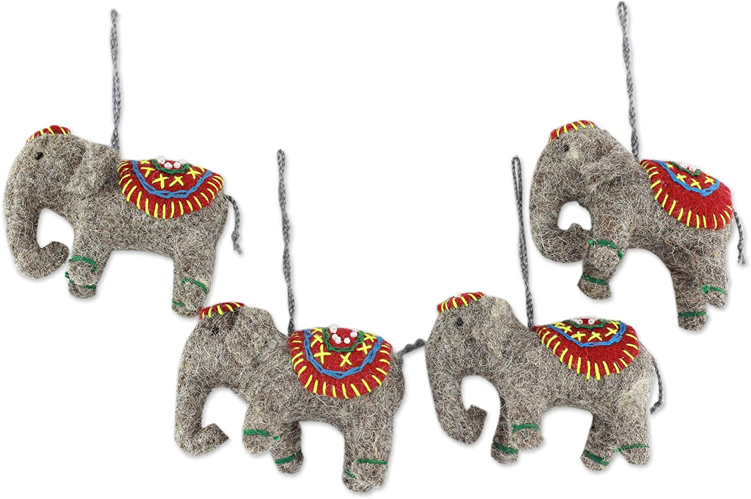 NOVICA Handmade Felted Wool Hanging Holiday Ornaments, Elephants in Red' (Set of 4)
