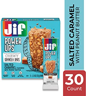 Jif Power Ups Chewy Granola Bars, Salted Caramel Flavored, 5 Count (Pack of 6), 6g of Protein, No Corn Syrup