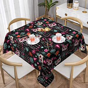 Tablecloth Cat Kitten Sugar Skull Waterproof Washable Square Table Cloth Cover for Party Banquet Home Dinner Decor 54