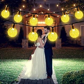 Luce Stringa Solare,50 LED 8 Modalità Luci di Cristallo Decorative a Sfera Decorative in Cristallo per Giardino, Matrimoni...