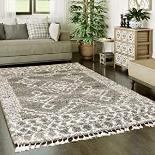 Super Area Rugs Shaggy Trellis Moroccan Rug, 3' x 5', Gray and White Carpet with Tassels