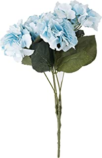 Jasion Artificial Flowers Hydrangeas Flowers 5 Big Heads Silk Bouquet for Office Home Party Decoration (Light Blue)