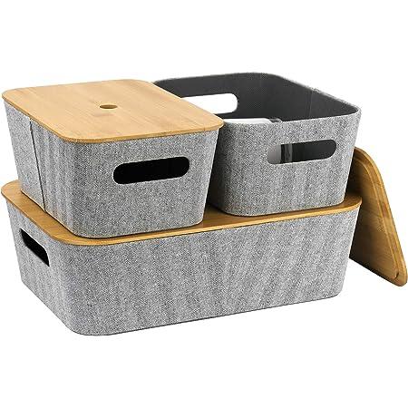 La Jolie Muse Lot de 3 paniers de rangement modernes en tweed gris clair pour étagère, placard, bibliothèque, tiroir, armoire, poubelle multifonction avec couvercle en bambou