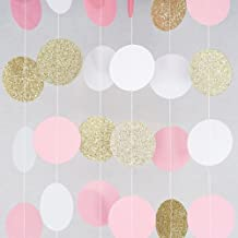Chloe Elizabeth Circle Dots Paper Party Garland Streamer Backdrop (4-Pack, 10 Feet Per Garland, 40 Feet Total) - Pink, White, Gold Glitter