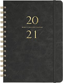 """2020-2021 Planner - Weekly & Monthly Planner with Monthly Tabs, 6.3"""" x 8.4"""", Smooth Faux Leather & Flexible Cover with White Paper, July 2020-June 2021, Wirebound, Gray"""