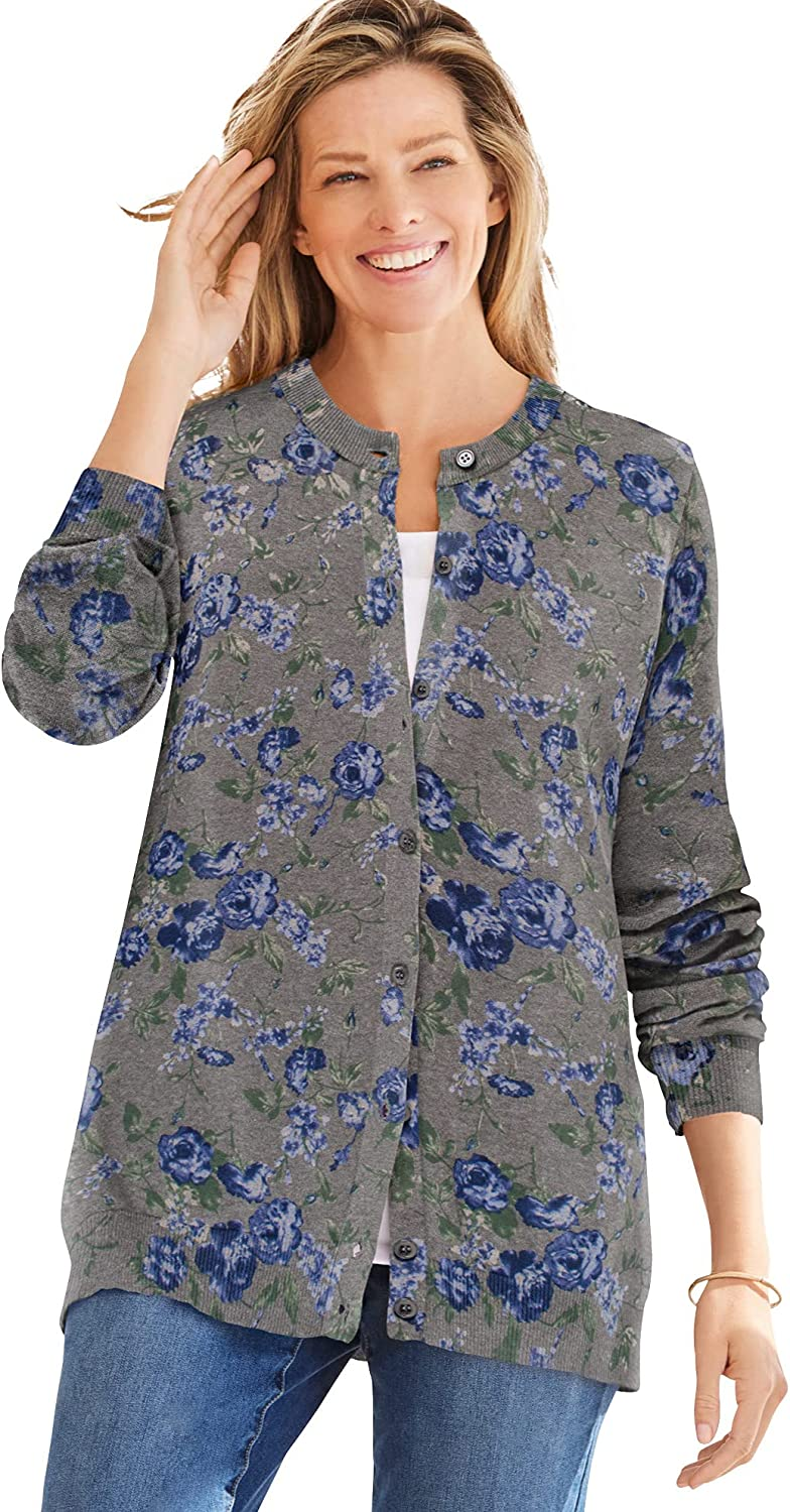Raleigh Mall Woman Within Women's Plus Size Perfect Long-Sleeve Max 72% OFF Cardigan Swea